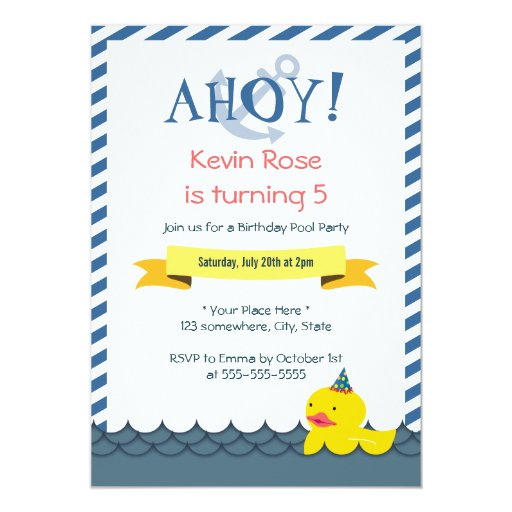 """Rubber Duck Nautical Birthday Party Invitations 5"""" X 7"""" Invitation Card (front side)"""