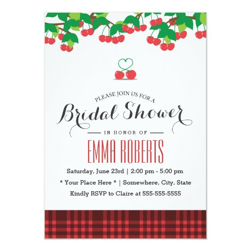 Sweet Cherries Picnic Bridal Shower 5x7 Paper Invitation Card