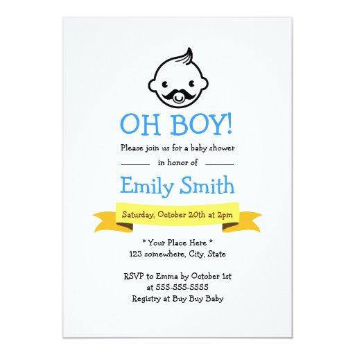 "Cute Mustache Little Man Baby Shower Invitations 5"" X 7"" Invitation Card"