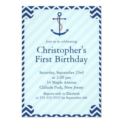 Modern Nautical Sailboat Anchor Birthday Party 5x7 Paper Invitation Card