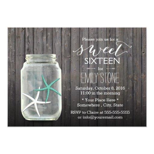 Starfish & Mason Jar Wood Background Sweet 16 5x7 Paper Invitation Card