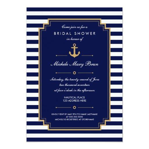 "Dark Blue Nautical Bridal Shower Invitation 5"" X 7"" Invitation Card"
