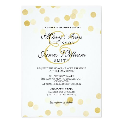Elegant Wedding Faux Gold Foil Glitter Lights 5x7 Paper Invitation Card