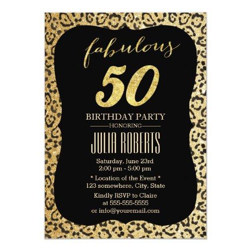 Modern Gold Leopard Print Fabulous 50 Birthday 5x7 Paper Invitation Card