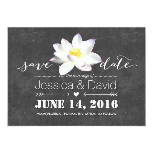 Elegant Lotus Flower Chalkboard Save the Date 5x7 Paper Invitation Card
