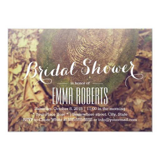 Rustic Tree Ring Bridal Shower 5x7 Paper Invitation Card