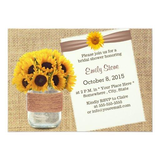 Country Burlap Mason Jar Sunflowers Bridal Shower 5x7 Paper Invitation Card