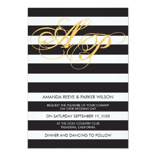 Stripe wedding invitation template black and white 13 cm x 18 cm invitation card