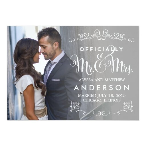 "Official Titles Wedding Announcement - Gray 5"" X 7"" Invitation Card"
