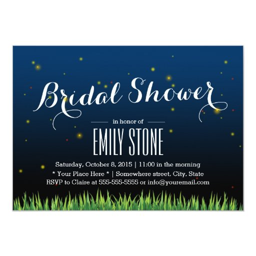 Stylish Fireflies Summer Night Bridal Shower 5x7 Paper Invitation Card
