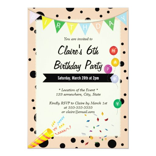 "Cute Pink Polka Dots Birthday Party Invitations 5"" X 7"" Invitation Card"