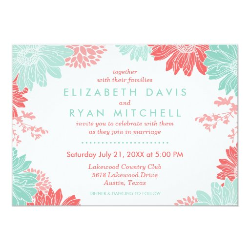 """Coral and Mint Modern Floral Wedding Invitation 5"""" X 7"""" Invitation Card"""
