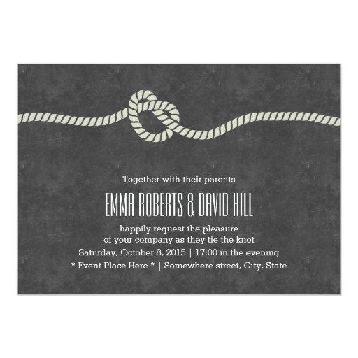 "Simple Twine Knot Chalkboard Wedding Invitations 5"" X 7"" Invitation Card"