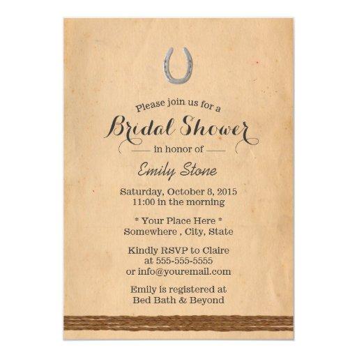 Rustic Horseshoe & Twine Bridal Shower 5x7 Paper Invitation Card