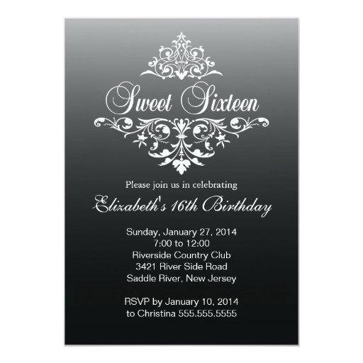 Modern Black White Sweet Sixteen Birthday Party 5x7 Paper Invitation Card