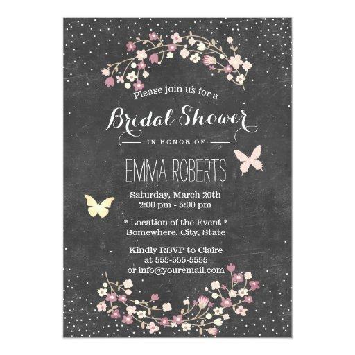 Vintage Chalkboard Butterfly Floral Bridal Shower 5x7 Paper Invitation Card