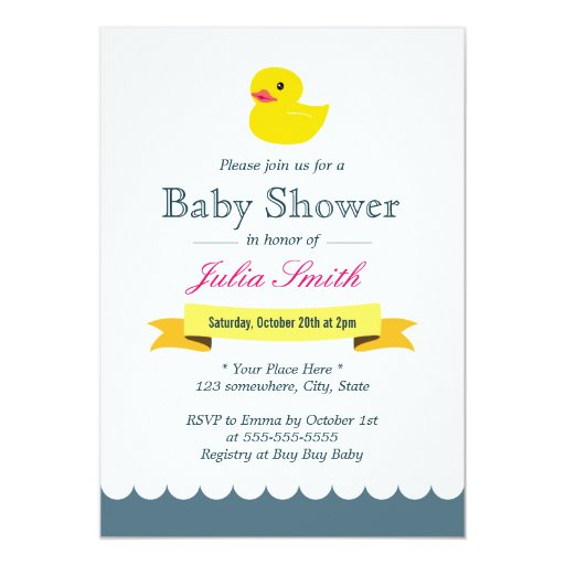"Cute Rubber Duck Baby Shower Invitations 5"" X 7"" Invitation Card (front side)"