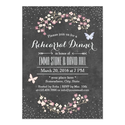 Vintage Chalkboard Floral Rehearsal Dinner 5x7 Paper Invitation Card