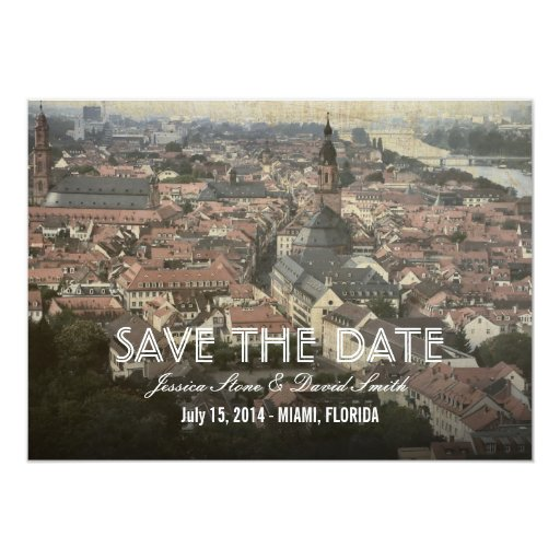 """Vintage Europe Old Town Save the Date Cards 5"""" X 7"""" Invitation Card"""