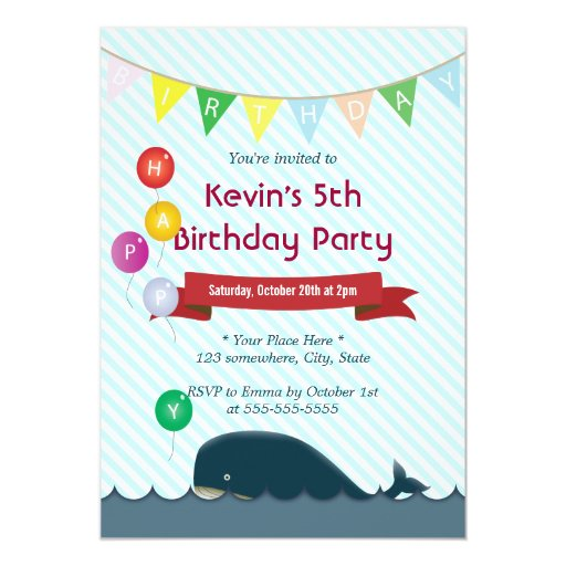 """Colorful Balloons & Whale Birthday Invitations 5"""" X 7"""" Invitation Card"""