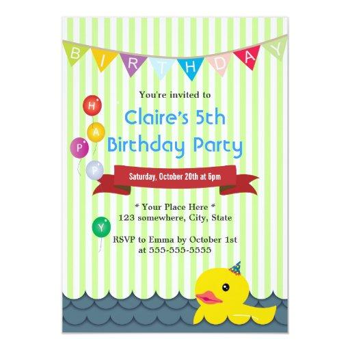 "Cute Ducky Duck Green Stripes Birthday Invitations 5"" X 7"" Invitation Card"