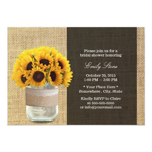 Rustic Sunflowers & Mason Jar Burlap Bridal Shower 5x7 Paper Invitation Card