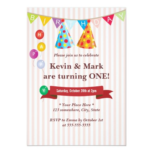 "Cute Pink Twin Boys Birthday Party Invitations 5"" X 7"" Invitation Card"