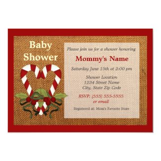 Candy Cane Heart Baby Shower Invitation - Red