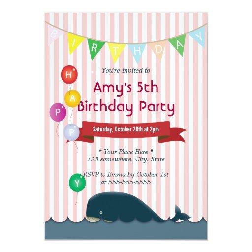 "Cute Whale Pink Stripes Birthday Invitations 5"" X 7"" Invitation Card"