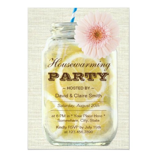 Summer Lemonade Housewarming Party 5x7 Paper Invitation Card