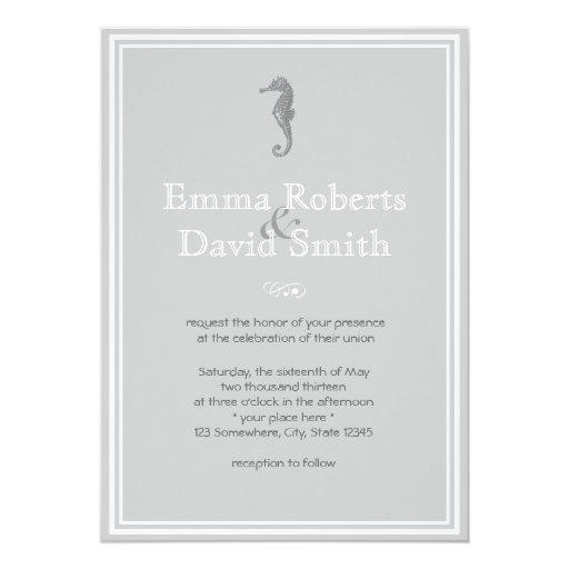 """Classy Sea Horse Silver Wedding Invitations 5"""" X 7"""" Invitation Card"""