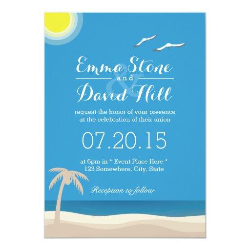 "Stylish Beach Theme Summer Wedding Invitations 5"" X 7"" Invitation Card"