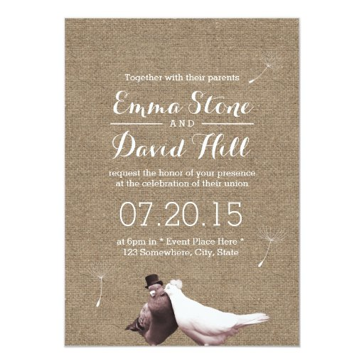 "Rustic Love Birds Burlap Wedding Invitations 5"" X 7"" Invitation Card"
