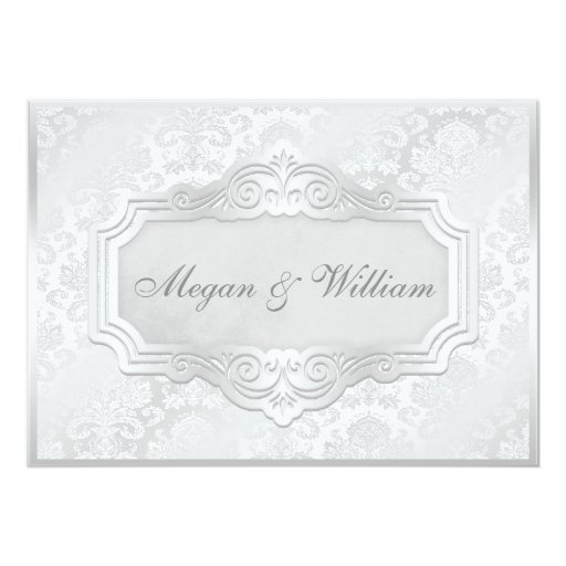 Elegant Silver Damask Wedding 5x7 Paper Invitation Card