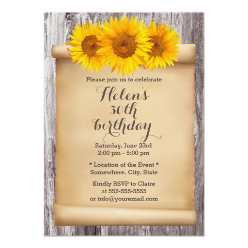 Vintage Sunflowers Old Scroll Wood Birthday Party 5x7 Paper Invitation Card