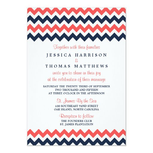The Modern Chevron Wedding Collection Navy & Coral 5x7 Paper Invitation Card (front side)