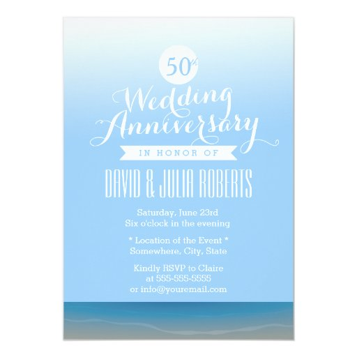 Blue Sky Beach Breeze Wedding Anniversary 5x7 Paper Invitation Card