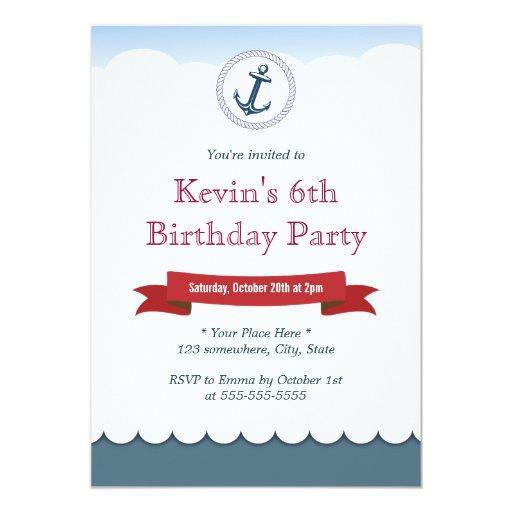 "Nautical Blue Anchor & Sea Birthday Invitations 5"" X 7"" Invitation Card"