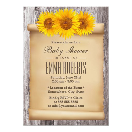 Vintage Sunflowers Old Scroll Wood Baby Shower 5x7 Paper Invitation Card