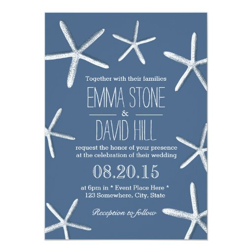 Beach Theme Starfish Frame Navy Blue Wedding 5x7 Paper Invitation Card