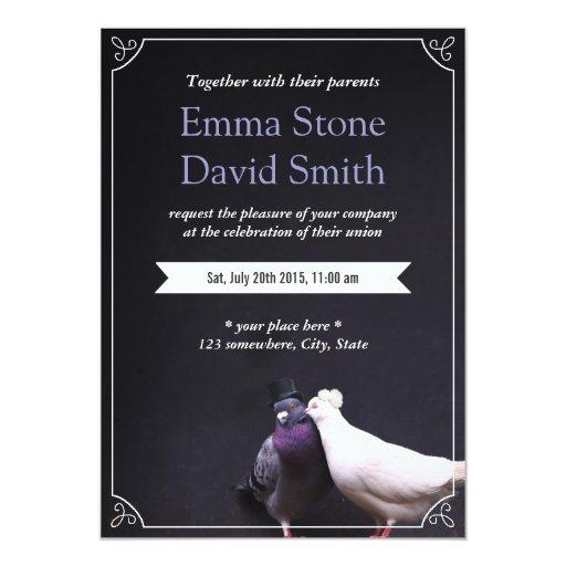 "Bride & Groom Love Birds Wedding Invitation 5"" X 7"" Invitation Card"