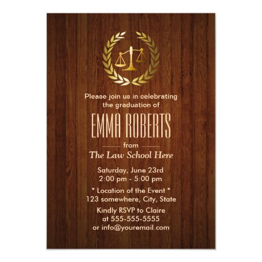 Gold Scale of Justice Law School Graduation Party 5x7 Paper Invitation Card
