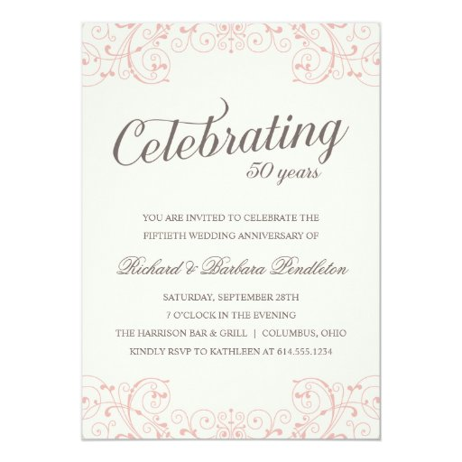 Elegant 50th Wedding Anniversary Party 5x7 Paper Invitation Card