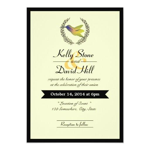 "Black Border Hummingbird Wedding Invitations 5"" X 7"" Invitation Card"