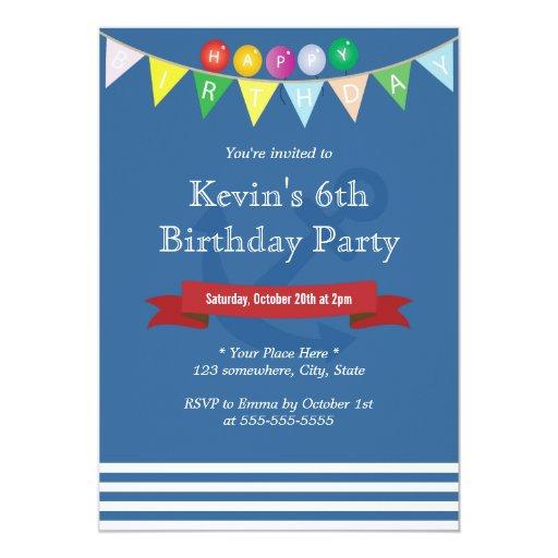"Nautical Navy Blue Stripes Birthday Invitations 5"" X 7"" Invitation Card"