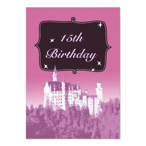 "Fancy Fairytale Castle Birthday Party Invitation 5"" X 7"" Invitation Card"