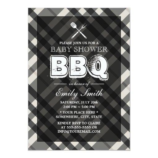 "Classy Gray Plaid Baby Shower BBQ Invitations 5"" X 7"" Invitation Card"