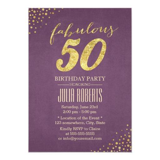 Chic Gold Dots Purple Fabulous 50 Birthday 5x7 Paper Invitation Card