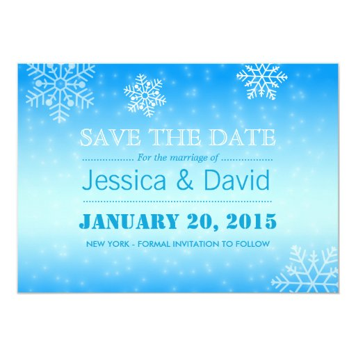 Elegant Winter Blue Snowflakes Save the Date 5x7 Paper Invitation Card