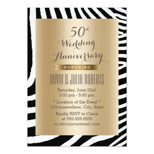 Modern Zebra Stripes Gold 50th Wedding Anniversary 5x7 Paper Invitation Card